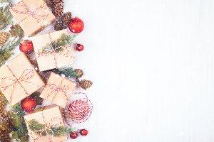 Christmas gift boxes & snow