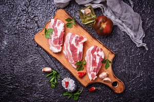 Raw pork meat and ingredients for