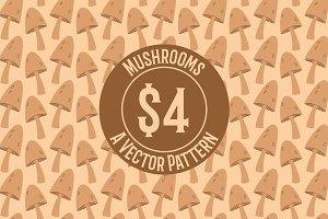 Mushroom Repeat Vector Pattern