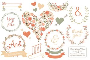 Vector Peach Vintage Flowers
