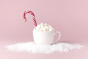 White mug with marshmallows Candy