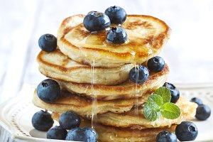 Stack of pancakes with blueberries