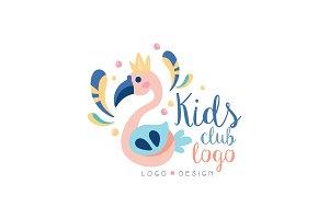 Kids club logo design, emblem with