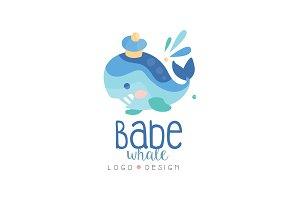 Babe whale logo design, emblem can