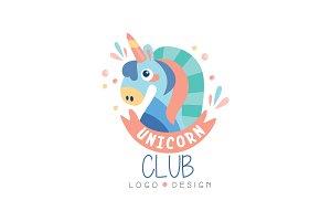 Unicorn club logo design, emblem