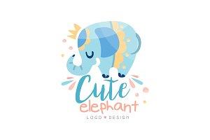 Cute elephant logo design, emblem
