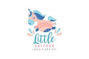 Little unicorn logo design, emblem