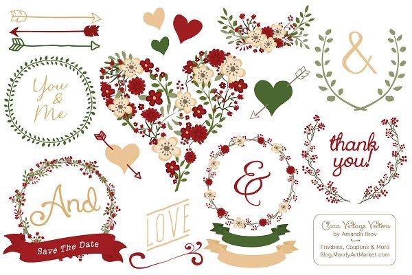 Christmas Wedding Vector Collection