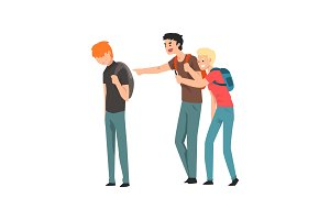 Two teen students bullying another