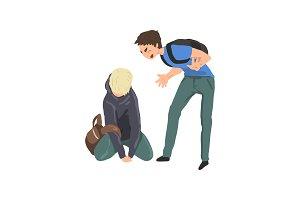 Sad teen boy sitting on floor