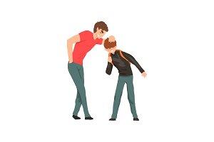 Older boy mocking younger, conflict