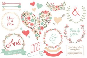 Vector Mint & Coral Vintage Flowers