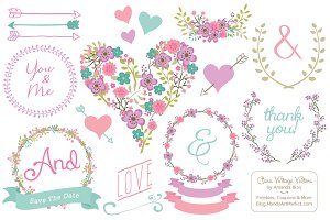 Vector Garden Party Vintage Flowers