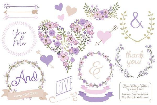 Lavender Vector Vintage Flowers