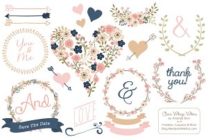 Vector Navy & Blush Vintage Flowers