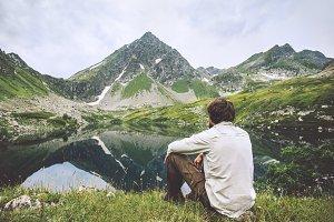 Man enjoying landscape traveling