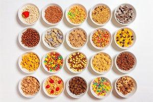 set of different cereals