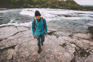Man survival traveling hiking