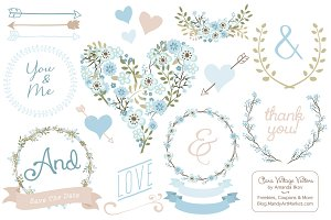 Soft Blue Vintage Vector Flowers