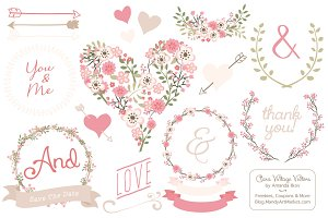 Soft Pink Vintage Vector Flowers