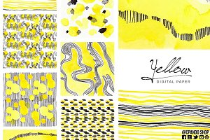 Yellow watercolor digital paper