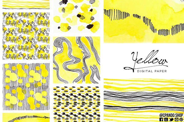 Patterns: CpandoShop - Yellow watercolor digital paper