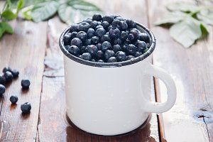 Blueberries in a white enamel cup