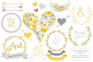 Yellow & Grey Vector Vintage Flowers