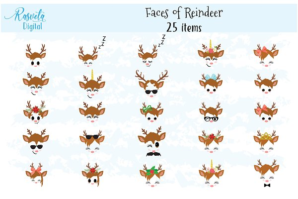 Reindeer Faces clip art set 1