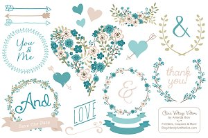 Vintage Blue Vector Wedding Flowers