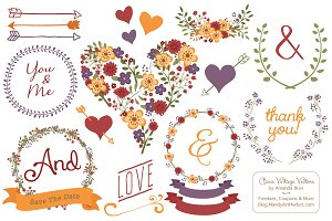 Autumn Floral Heart Clipart & Vector