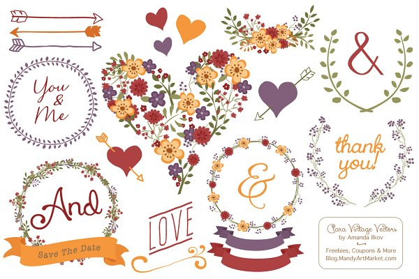 Autumn Floral Heart Clipart & Vecto…