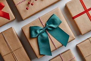Flay lay of Christmas presents