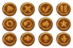 Vector wooden collection kit buttons