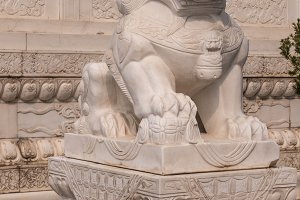 Marble lion at entrance to Big Wild