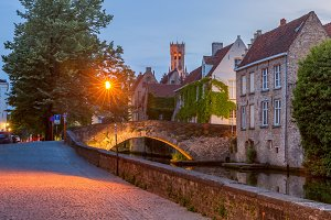 Night Green canal in Bruges, Belgium
