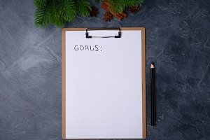 Goals for new year. Blank paper with