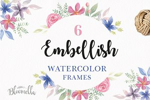 Embellish Watercolor Floral Borders