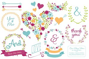 Bohemian Floral Heart & Banners