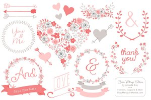 Coral Flower Heart Vectors & Clipart