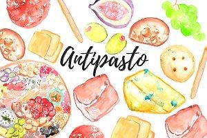 Watercolor Food Antipasto Clipart