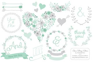 Mint Floral Heart Clipart & Vectors