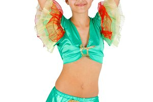Girl dancing with Latin American clo