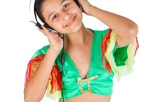 Teenage girl dancing with headphones