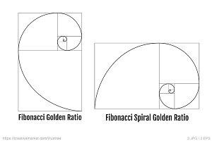 Fibonacci golden ratio, vector