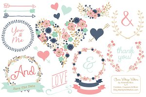 Modern Floral Heart & Banners