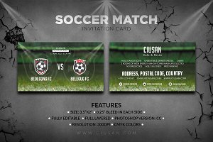 Soccer Match - Invitation Card