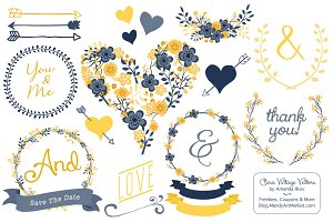 Navy & Yellow Floral Heart Clipart