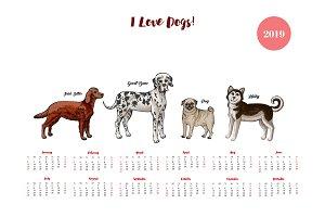 Dog calendar 2019