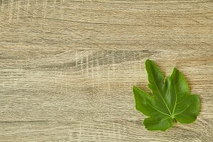 Above Fruit Fig with leaves wooden